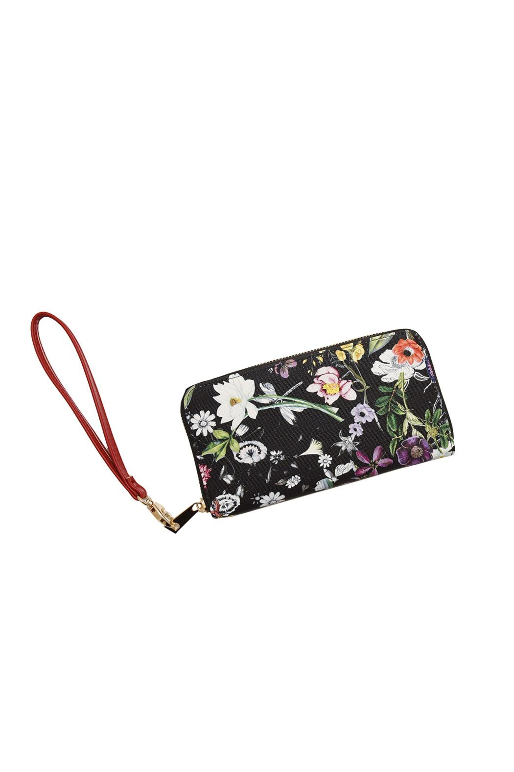 Diophy Floral Zip Wallet - Front Cropped Image