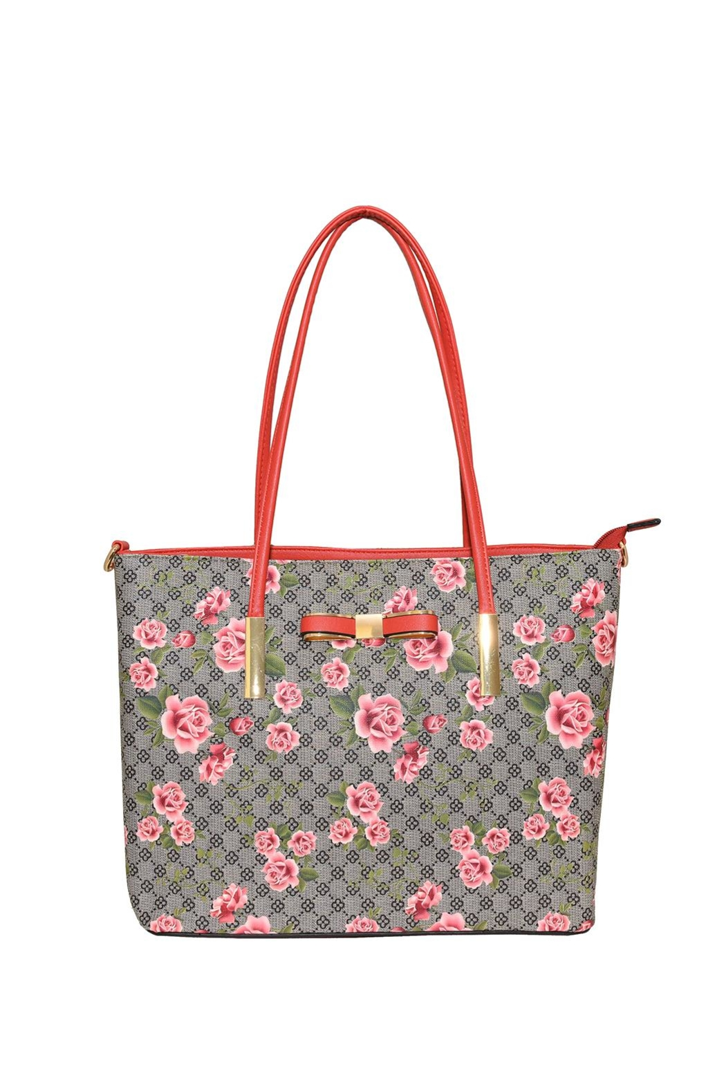 Diophy Large Floral Tote - Front Cropped Image