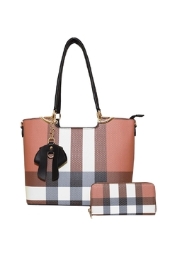 Diophy Plaid Bow Tote - Alternate List Image