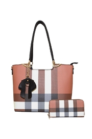 Diophy Plaid Bow Tote - Front full body