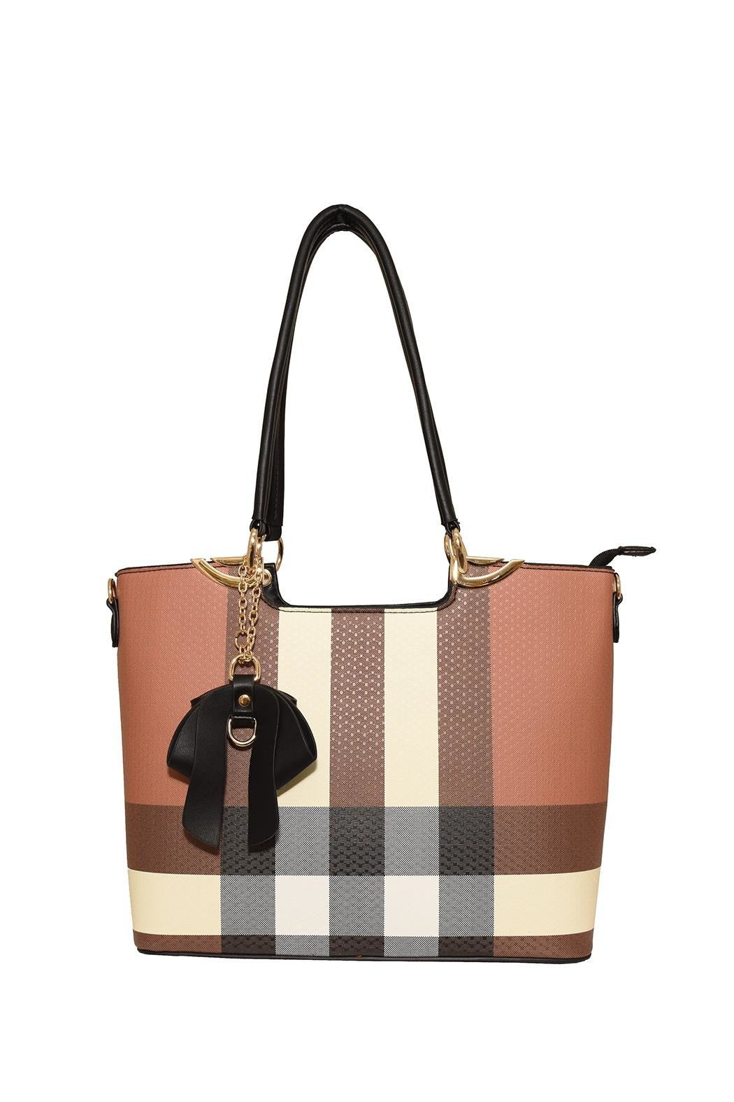 Diophy Plaid Bow Tote - Main Image