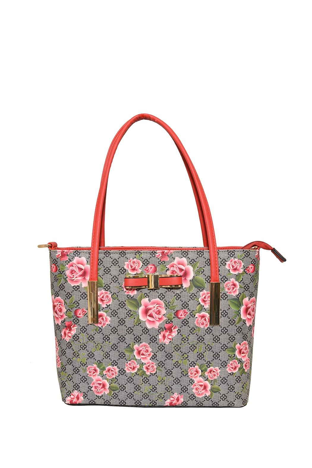 Diophy Small Floral Tote - Front Cropped Image
