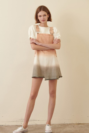 R+D Dip Dye Overall Shorts - Back cropped