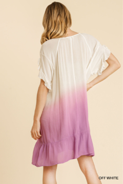 umgee  DIP DYE V-NECK RUFFLE SLV DRESS - Alternate List Image
