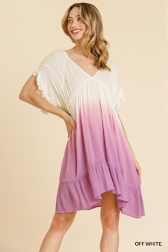 umgee  DIP DYE V-NECK RUFFLE SLV DRESS - Product List Image