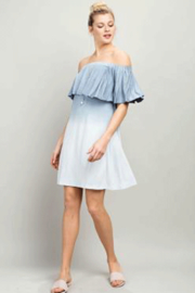 LLove USA Dip Dyed Off the Shoulder Flounce Dress - Product Mini Image