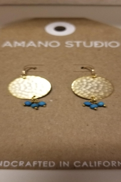 Amano Trading Disc and Turquoise Nugget Earrings - Alternate List Image