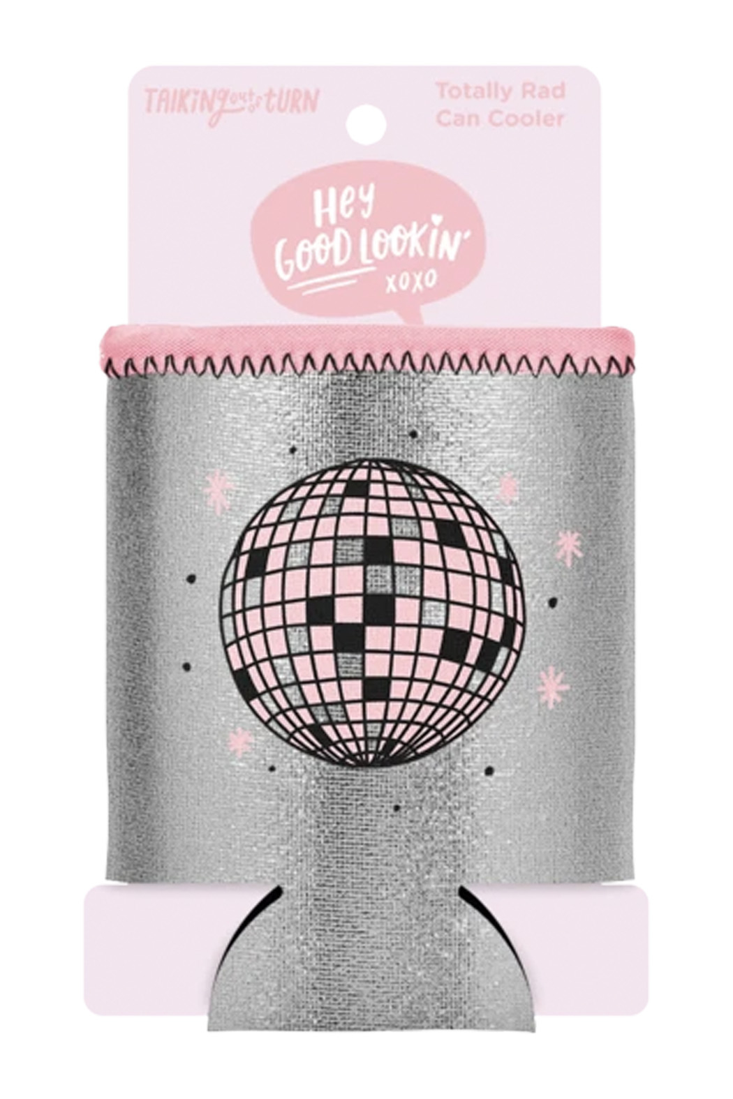 Talking Out Of Turn  Disco Ball Metallic Can Cooler - Front Full Image