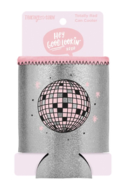 Talking Out Of Turn  Disco Ball Metallic Can Cooler - Front full body