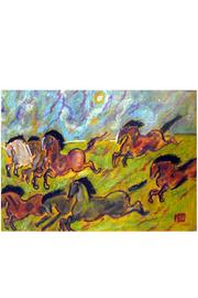 Diseño bos Running Horses Painting - Front cropped