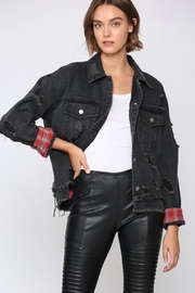 Fate Distresed Black Jean Jacket - Product Mini Image