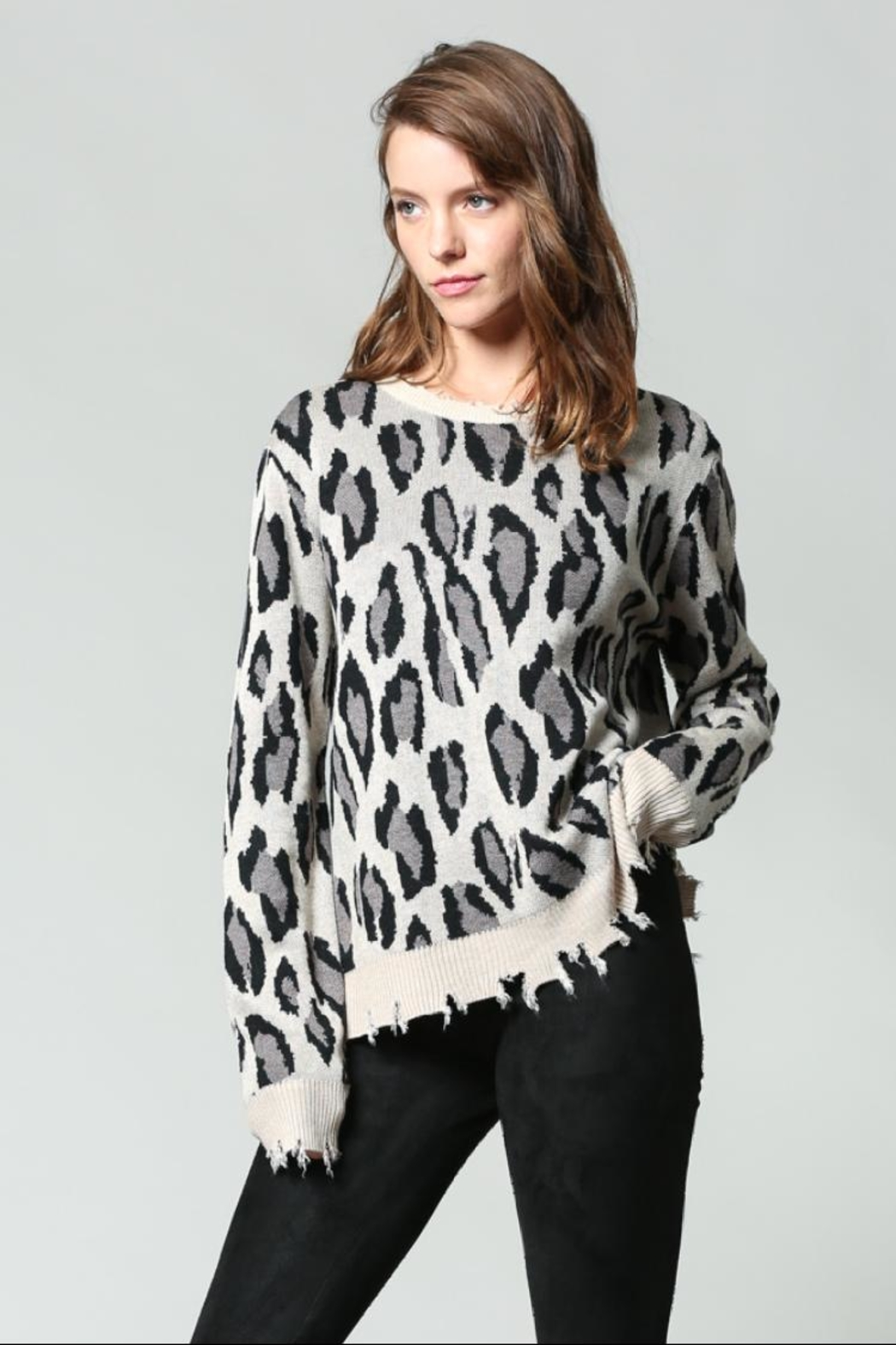 3fce5fce31c8 Fate Distressed Animal-Print Sweater from Nevada by Tipsy Gypsy ...