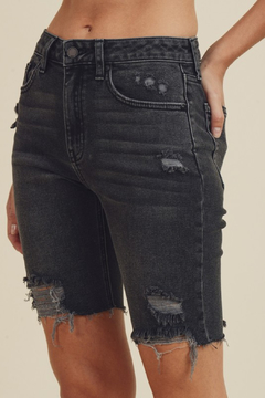 just black Distressed Bermuda Denim Short - Product List Image