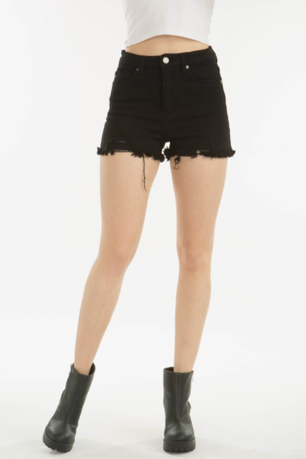 Kan Can DISTRESSED BLACK SHORT - Front Full Image