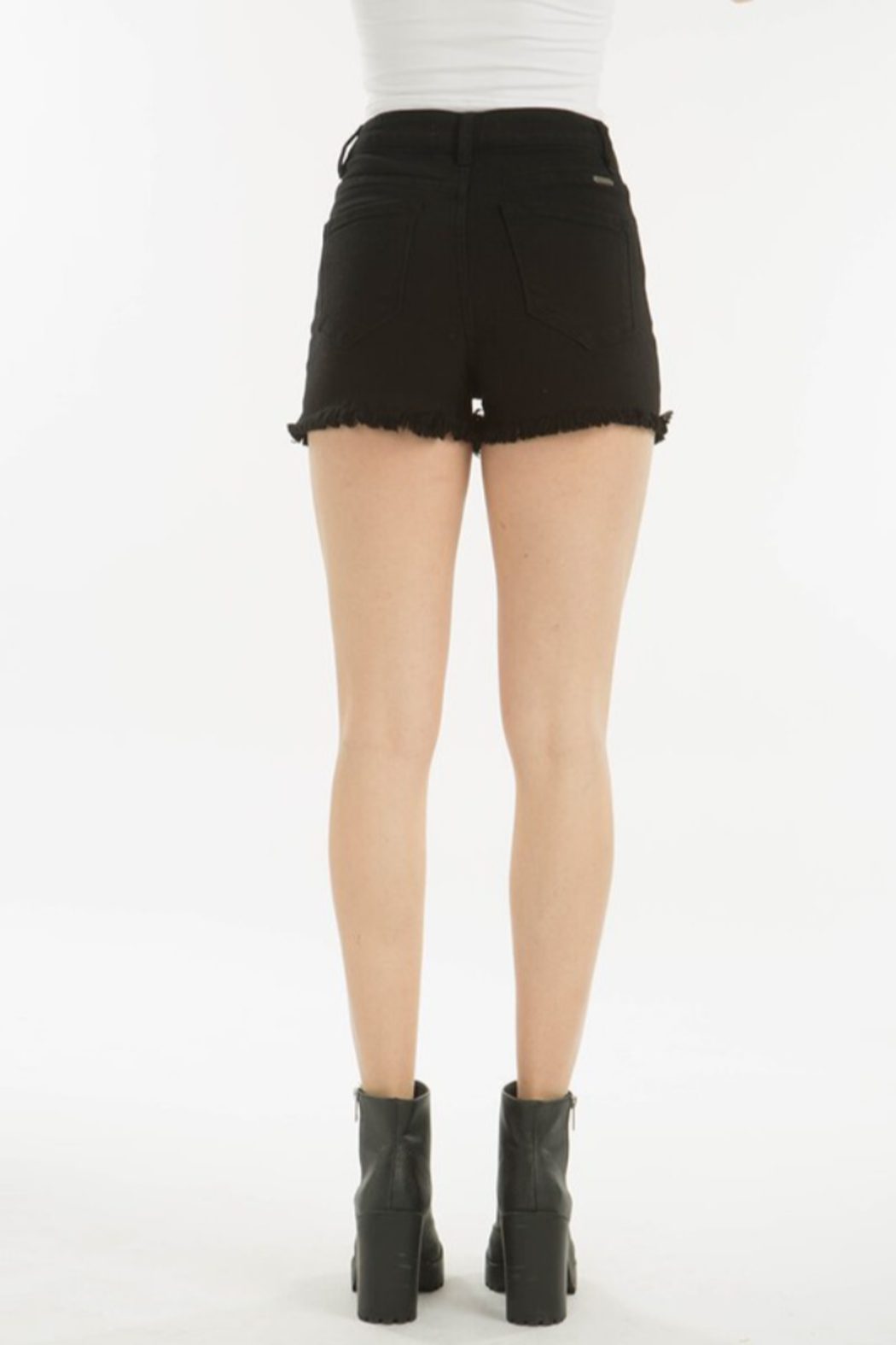Kan Can DISTRESSED BLACK SHORT - Back Cropped Image