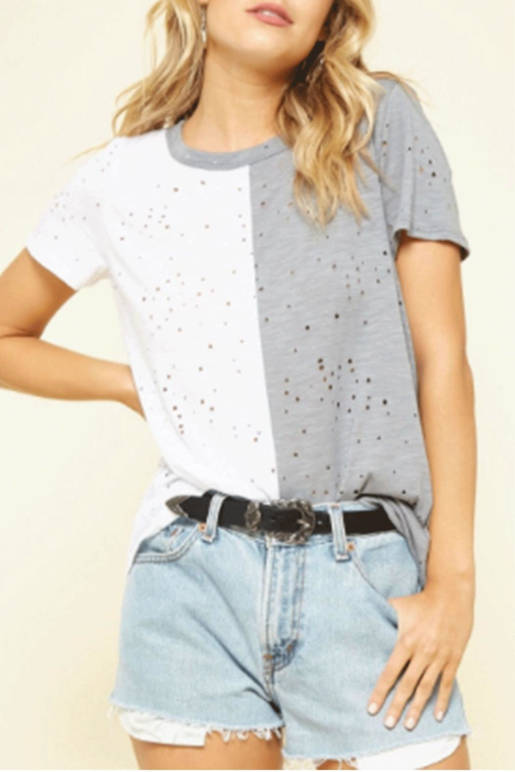Promesa USA Distressed Blocked Top - Front Cropped Image