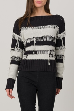 Margaret O'Leary Distressed Boatneck Pullover - Product List Image