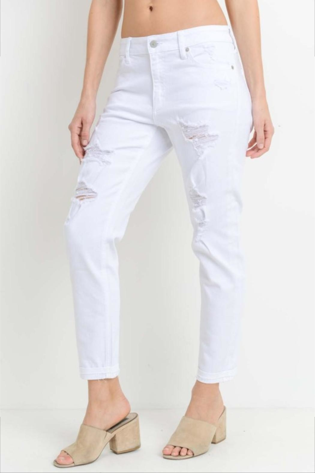 Just USA Distressed Boyfriend Jeans - Front Full Image