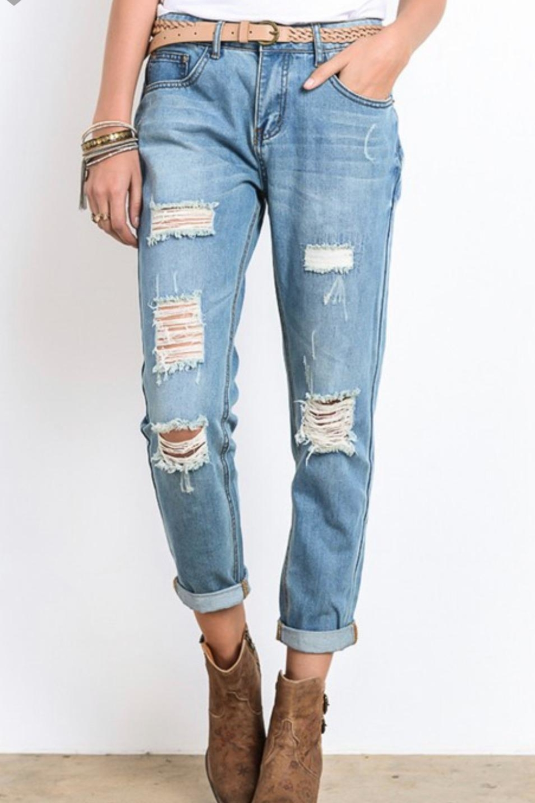 Wishlist Distressed Boyfriend Jeans - Front Cropped Image