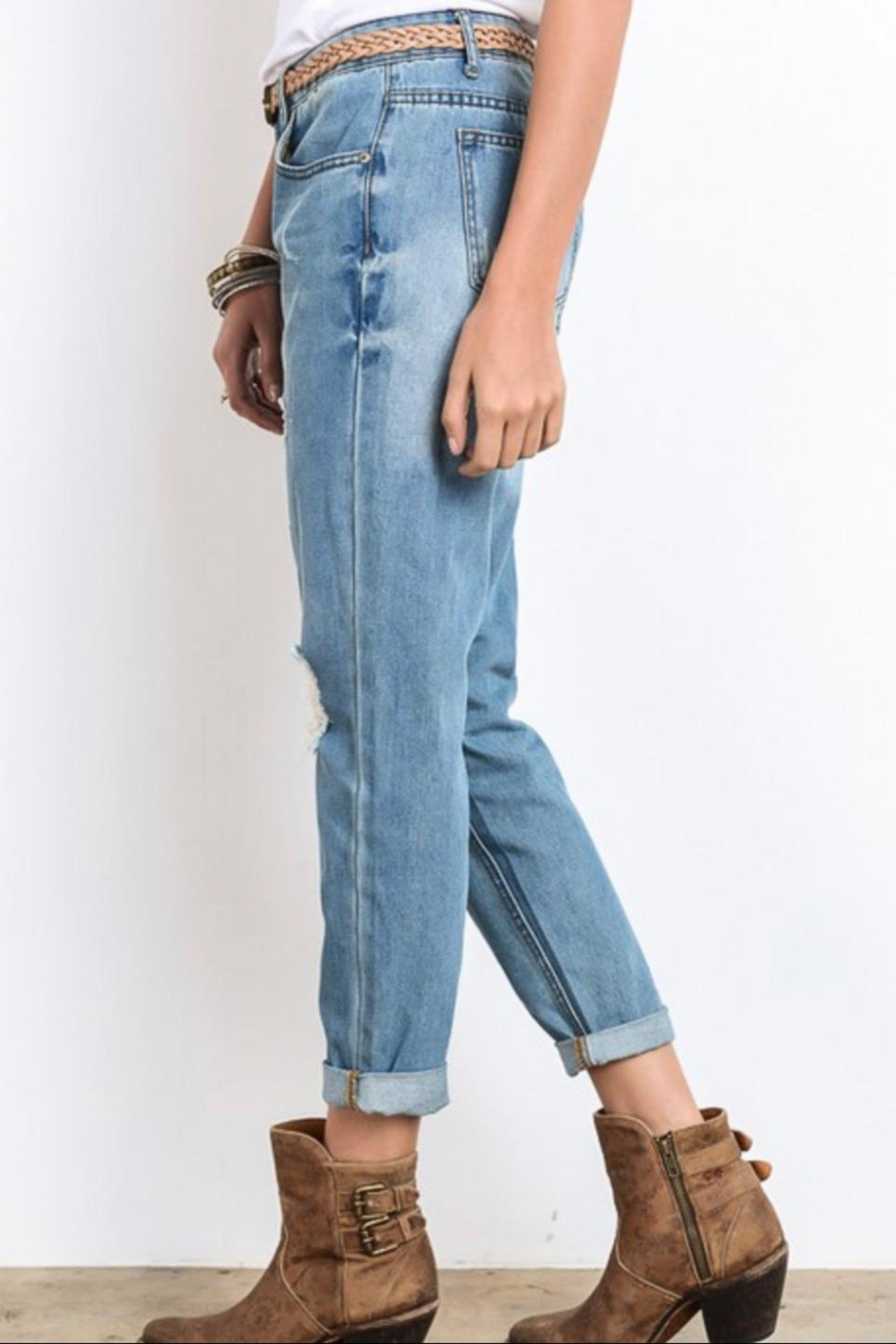 Wishlist Distressed Boyfriend Jeans - Front Full Image