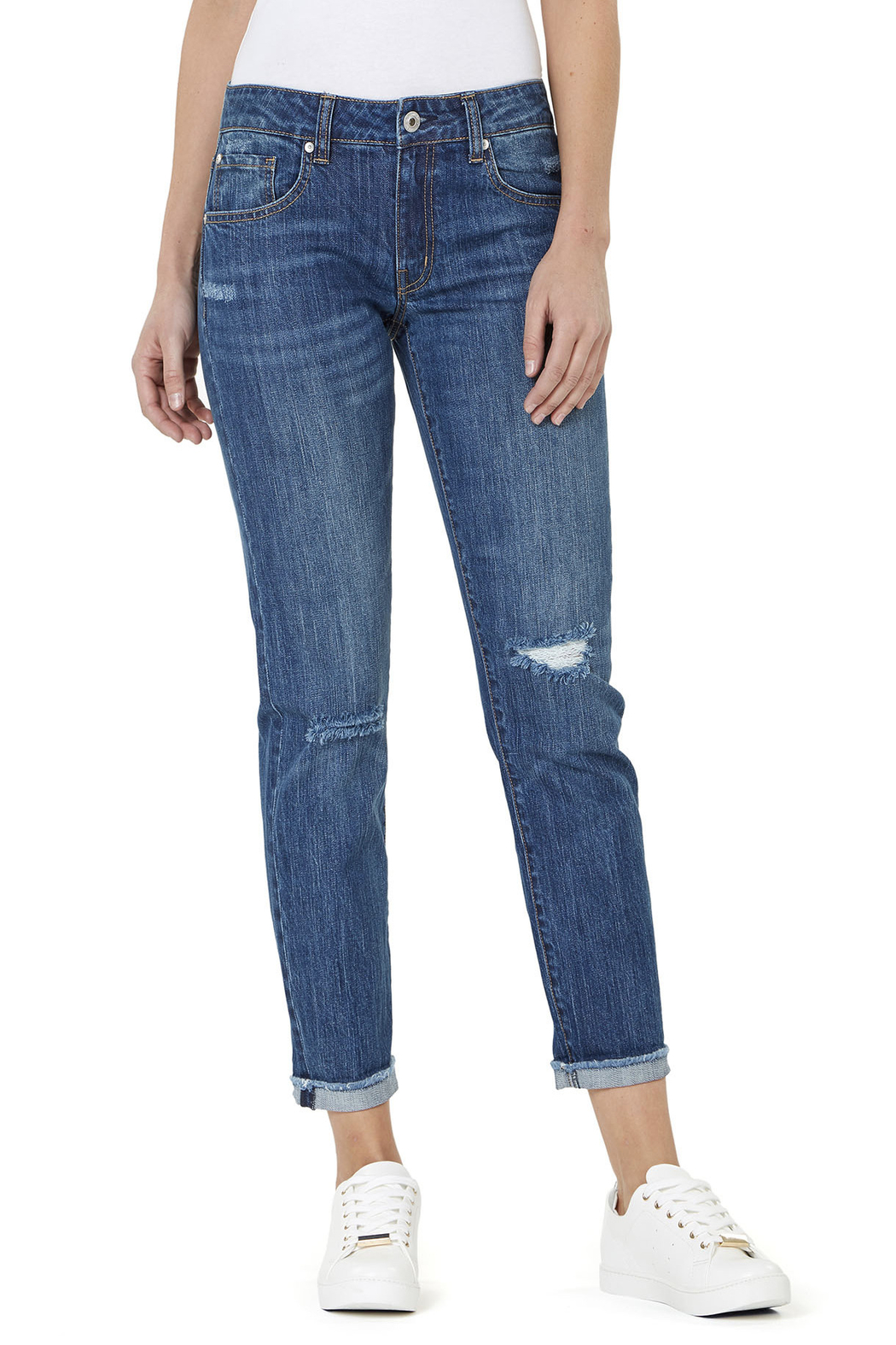 Numero Denim Distressed Boyfriend Jeans - Front Cropped Image