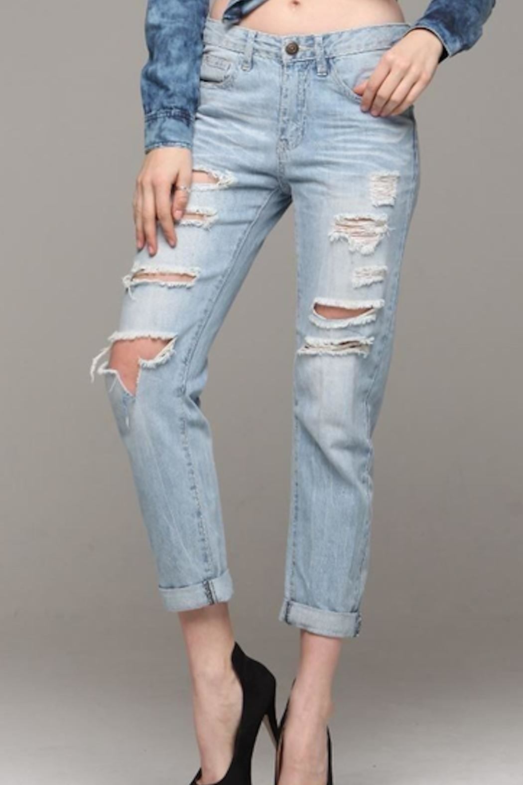 Machine Jeans Distressed Boyfriend Jeans - Front Cropped Image