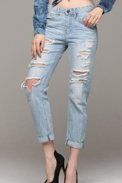 Machine Jeans Distressed Boyfriend Jeans - Product List Image