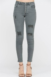 Wishlist Distressed Button Skinny - Product Mini Image
