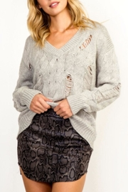 Olivaceous Distressed Cable-Knit Sweater - Product Mini Image