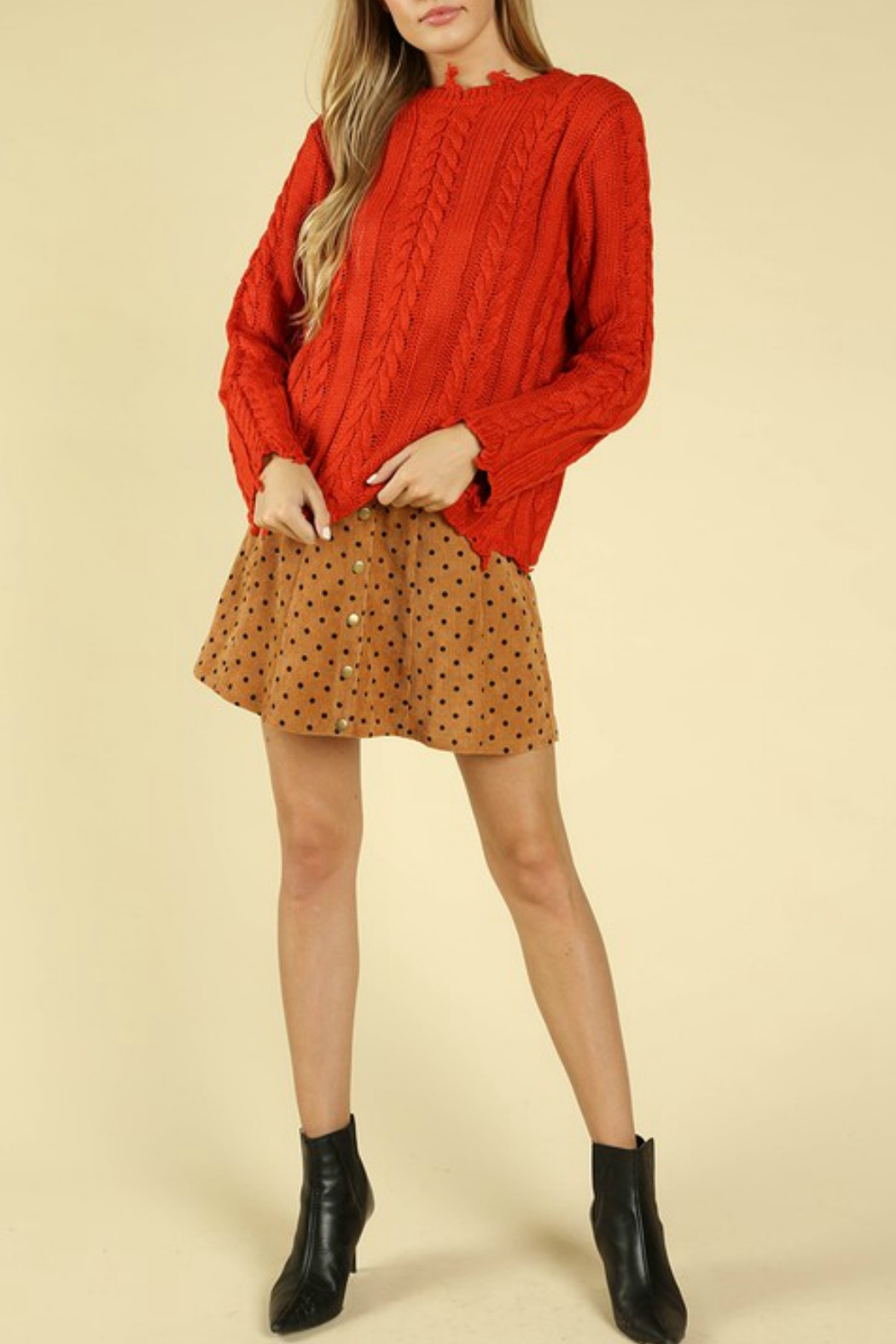 Wild Honey Distressed Cable Knit Sweater - Front Full Image