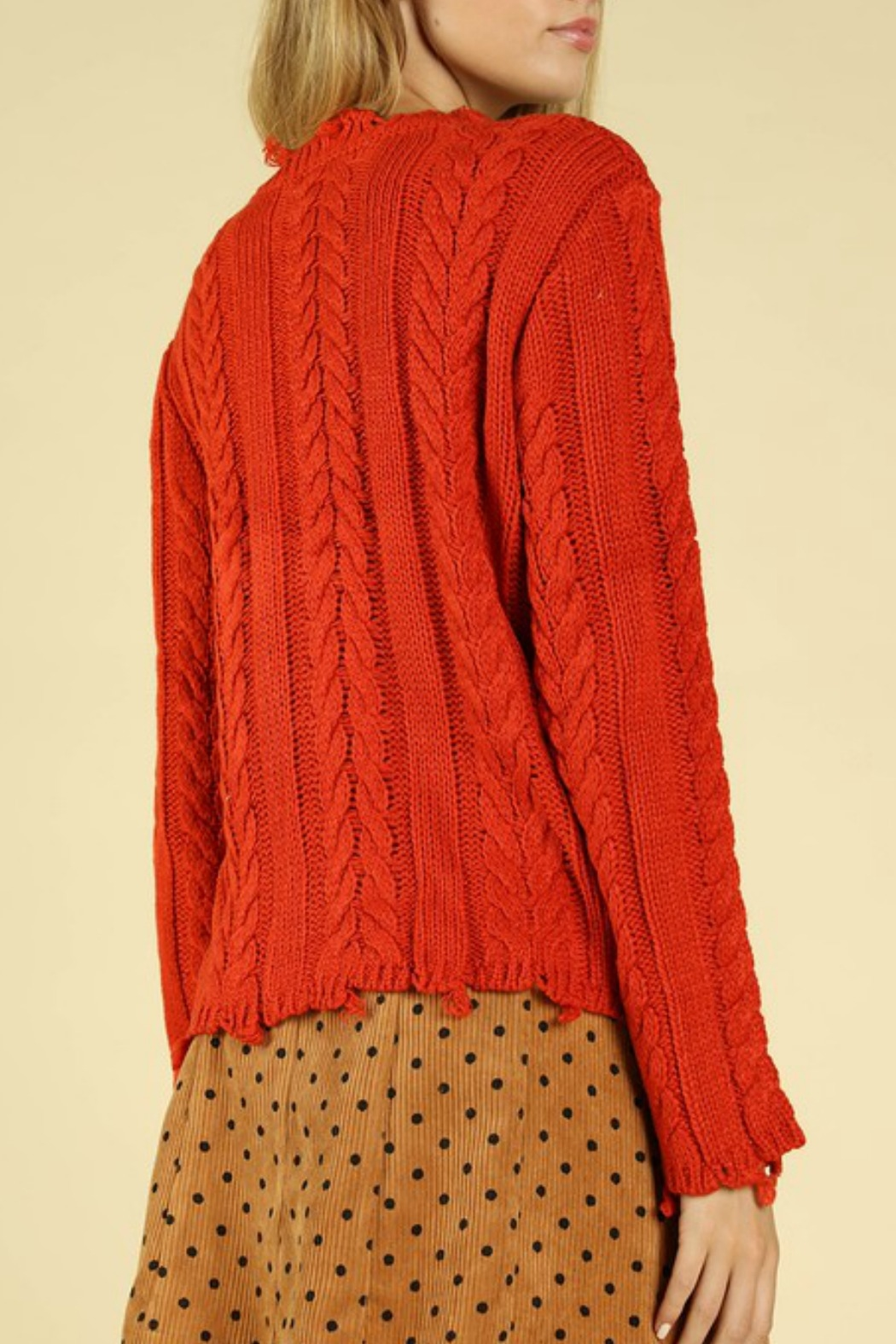 Wild Honey Distressed Cable Knit Sweater - Side Cropped Image