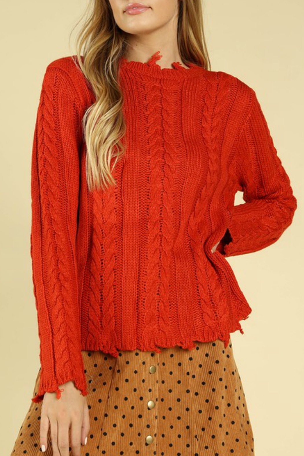 Wild Honey Distressed Cable Knit Sweater - Front Cropped Image