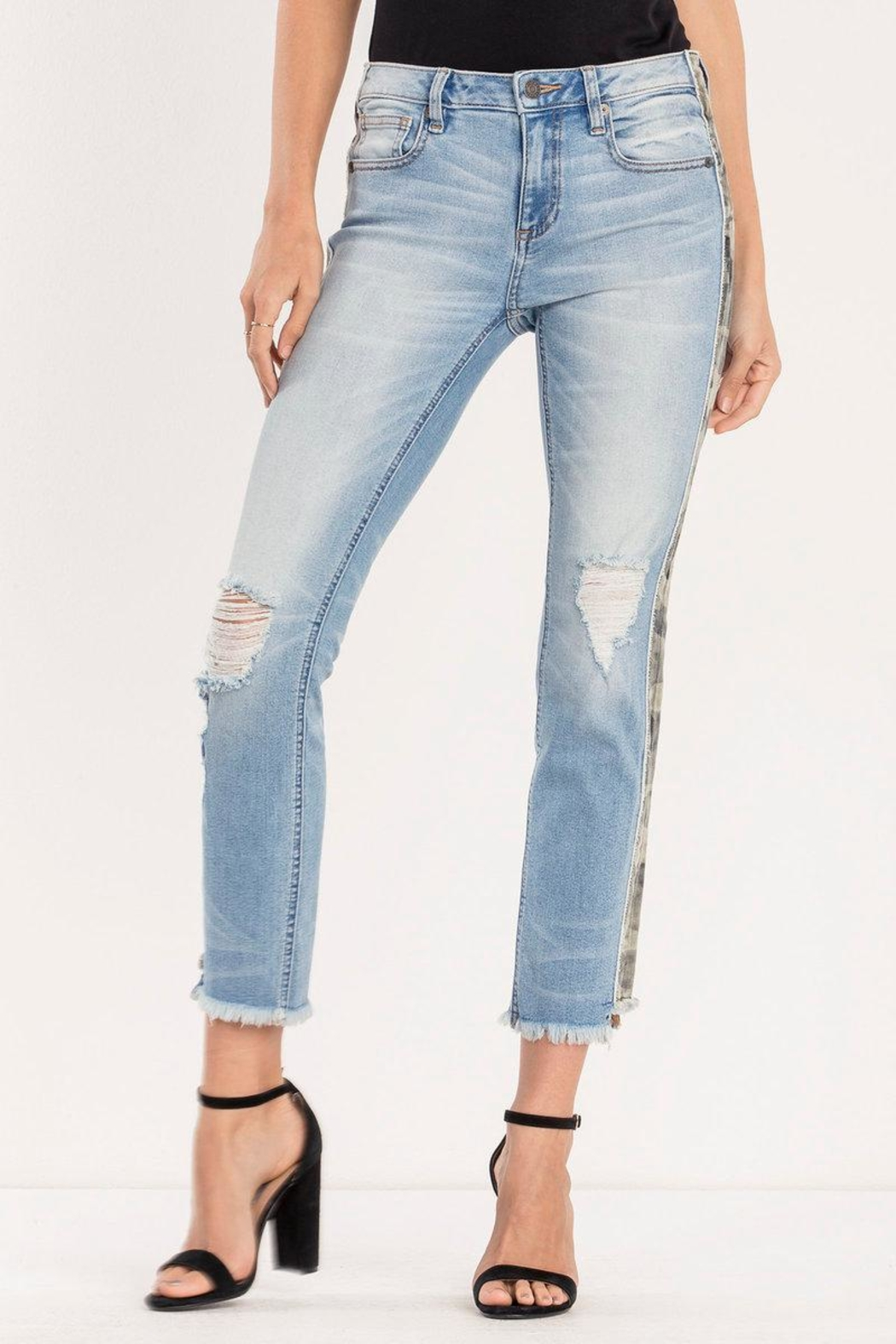 Miss Me Distressed-Camo Ankle-Straight Jean - Front Full Image