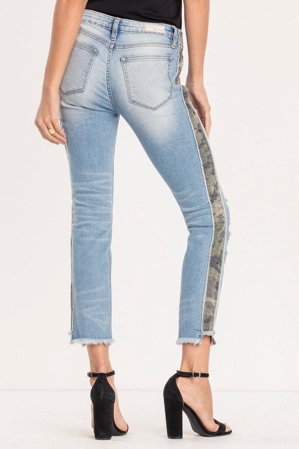Miss Me Distressed-Camo Ankle-Straight Jean - Side Cropped Image
