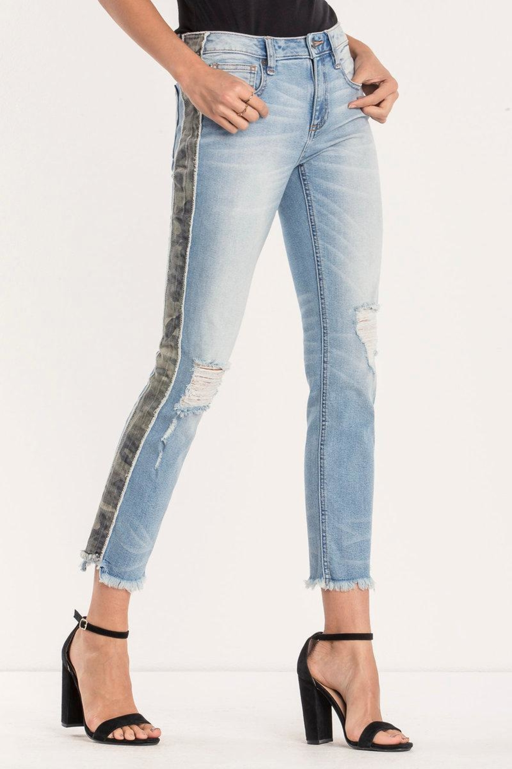 Miss Me Distressed-Camo Ankle-Straight Jean - Main Image