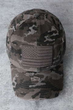 Shoptiques Product: Distressed Camo Flag Baseball Hat
