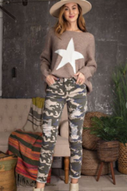 easel Distressed Camo Jeans - Product Mini Image