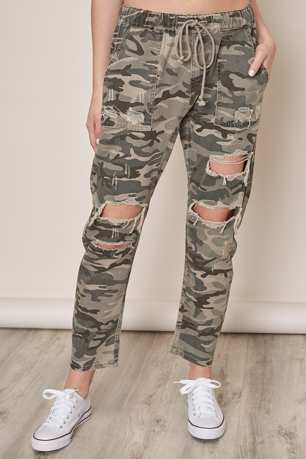 Mustard Seed  Distressed Camo Pants - Main Image