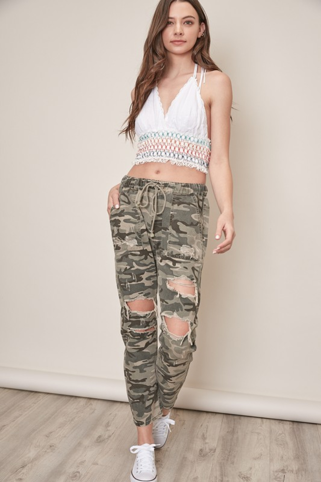 Mustard Seed  Distressed Camo Pants - Back Cropped Image