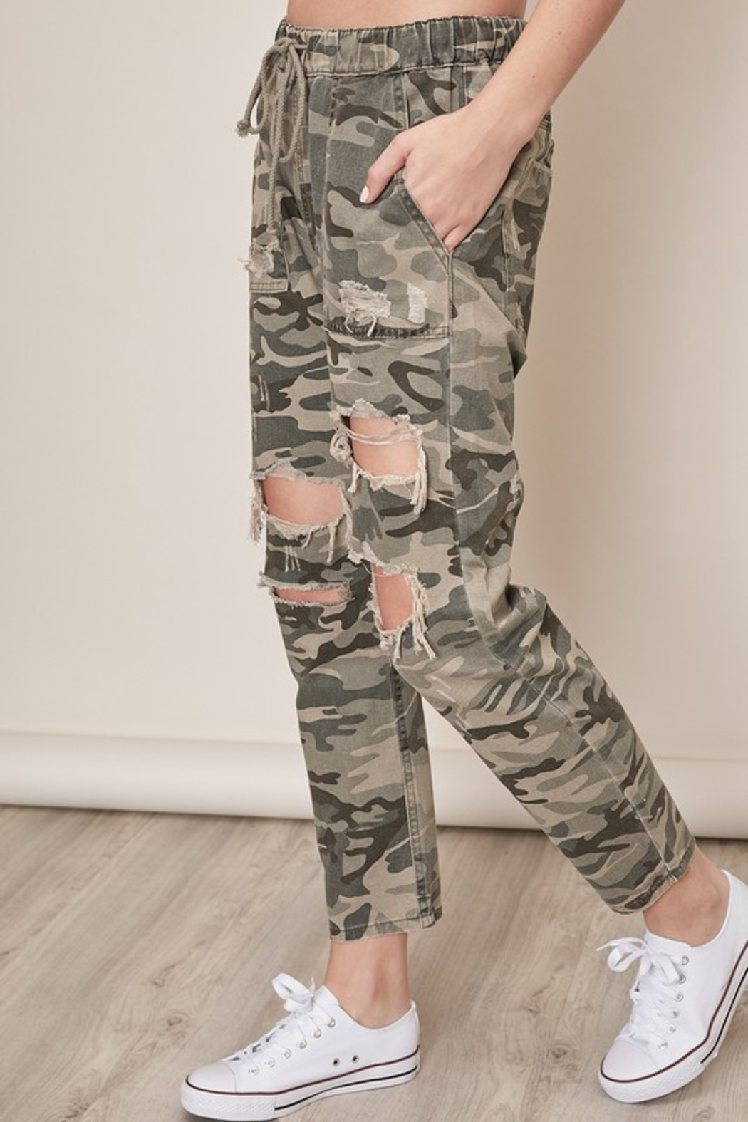 Mustard Seed  Distressed Camo Pants - Front Full Image