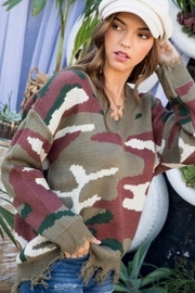 Main Strip Distressed Camo Print Sweater - Front full body