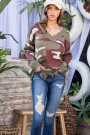 Main Strip Distressed Camo Print Sweater - Front cropped