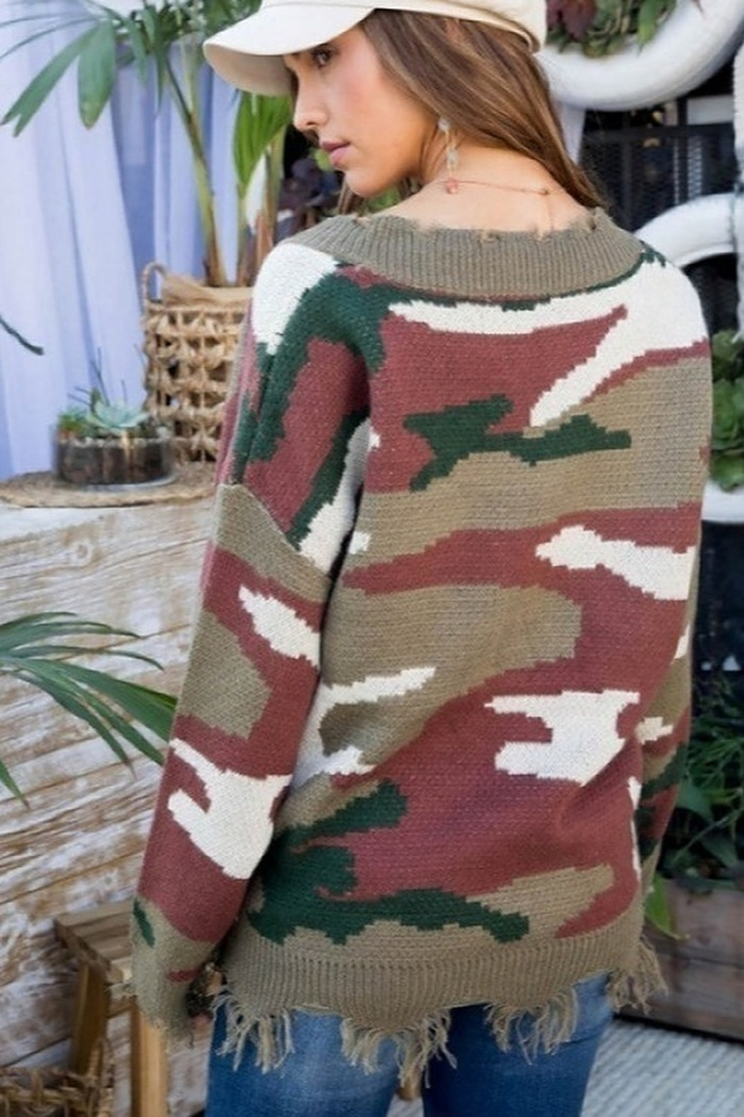 Main Strip Distressed Camo Print Sweater - Side Cropped Image