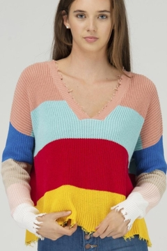 Fate DISTRESSED COLOR BLOCK DOUBLE V NECK SWEATER - Product List Image