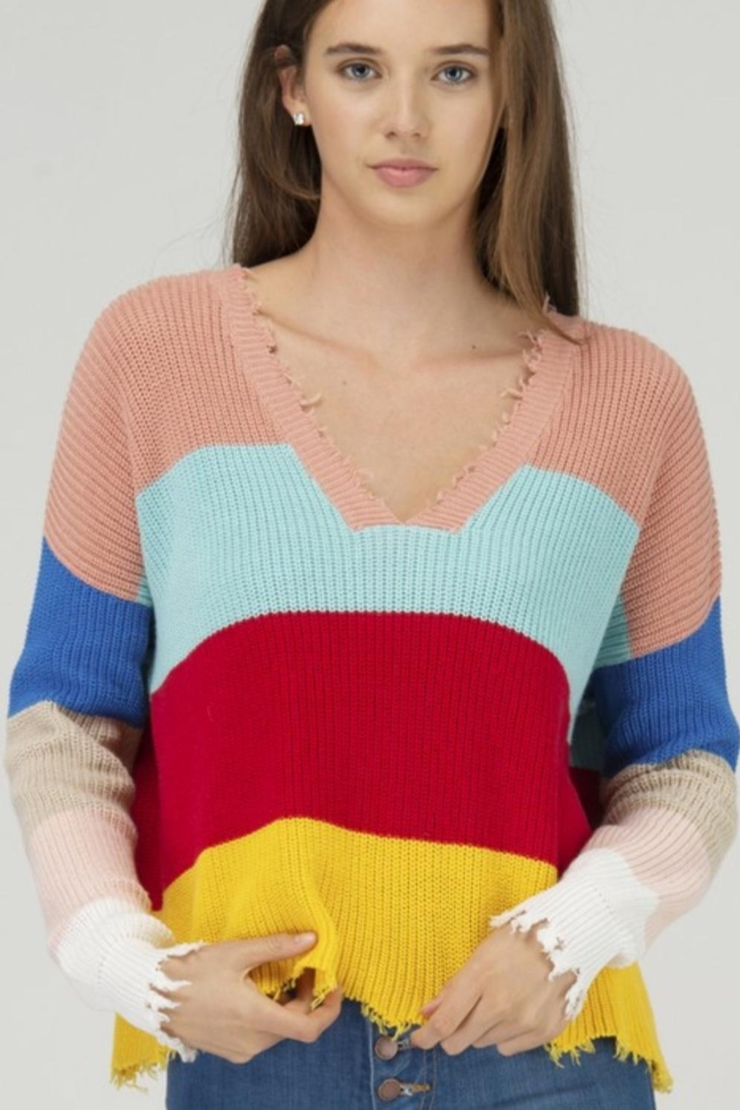 Fate DISTRESSED COLOR BLOCK DOUBLE V NECK SWEATER - Main Image
