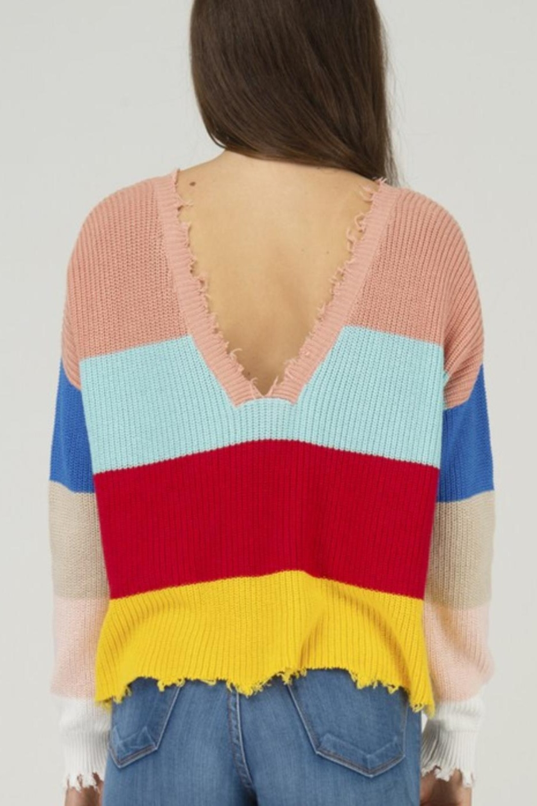 Fate DISTRESSED COLOR BLOCK DOUBLE V NECK SWEATER - Front Full Image