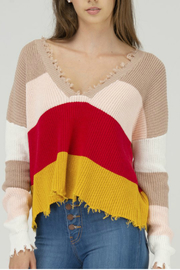 Fate Distressed color block sweater - Product Mini Image