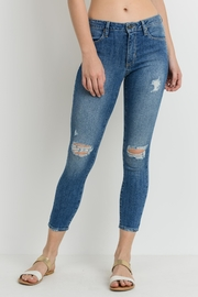 just black Distressed Crop Denim - Product Mini Image