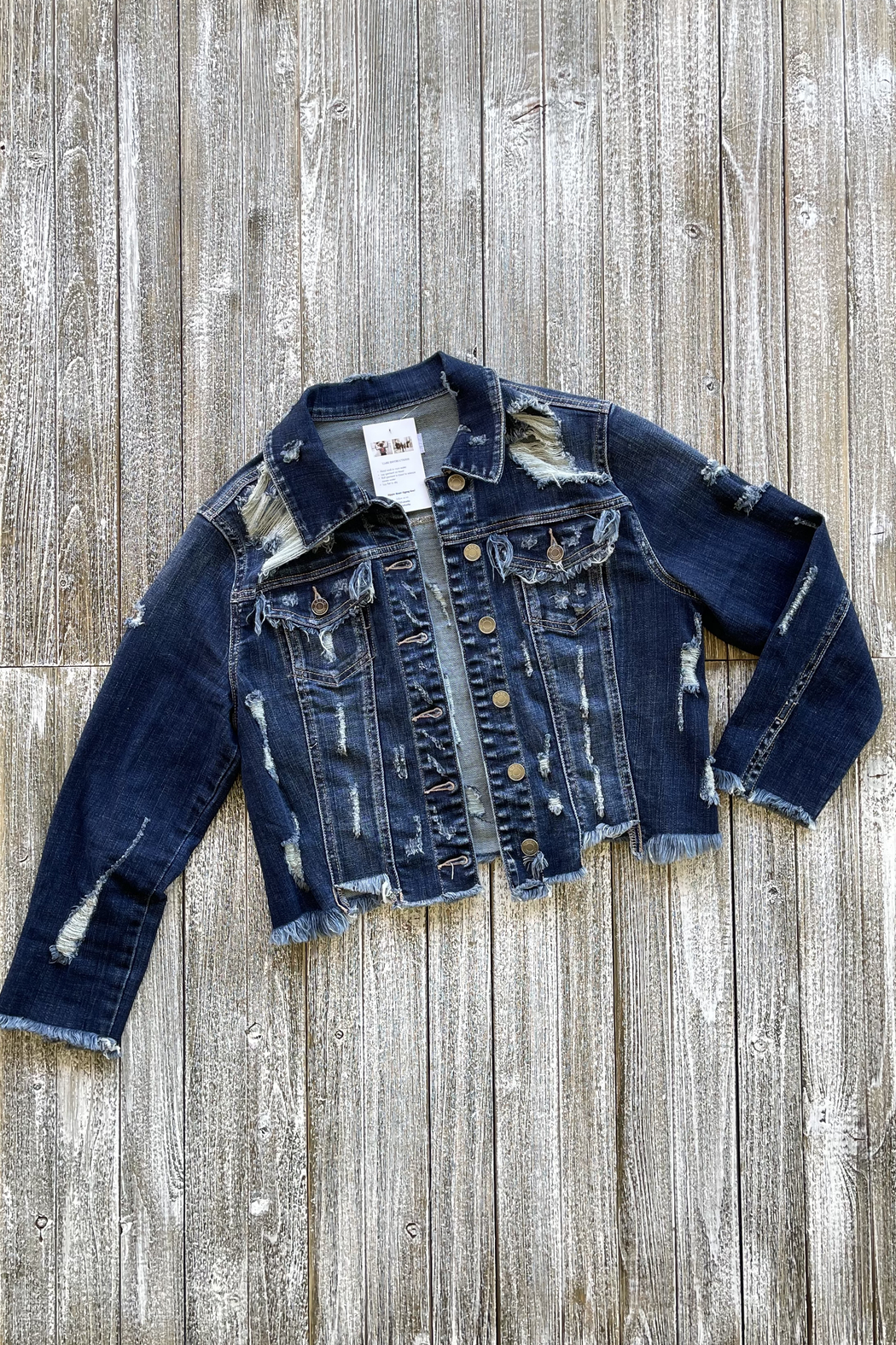 Soulstice Distressed Crop Denim Jacket w Red Lips - Front Full Image