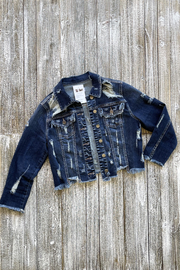Soulstice Distressed Crop Denim Jacket w Red Lips - Front full body